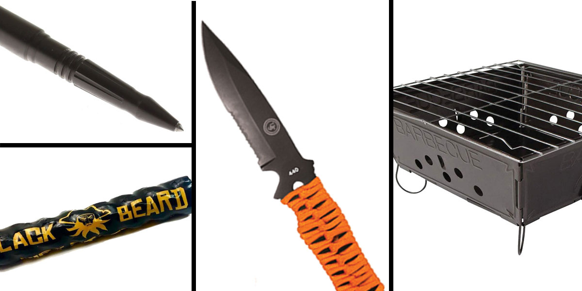 Tactical Gift Box Portable Folding Barbecue Grill + Black Beard Fire Starters + UST Paraknife FS + Tactical Pen