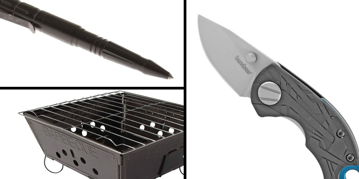 Tactical Gift Box Portable Folding Barbecue Grill + Kershaw, Aftereffect, 1.7