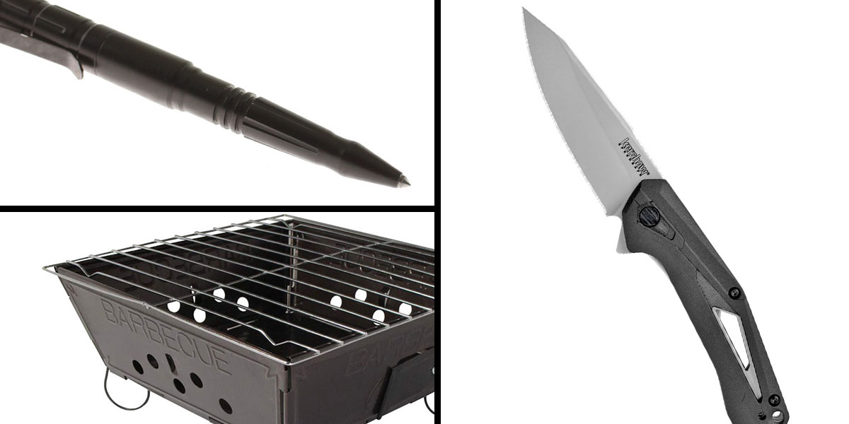 Tactical Gift Box Portable Folding Barbecue Grill + Kershaw, Airlock, 4.25