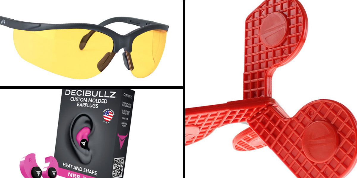Tactical Gift Box Timber Creek Outdoors 'Jax' Self-Healing Rimfire and Pistol Target + Walker's, Glasses, Yellow + Decibullz Custom Molded Earplugs - Pink