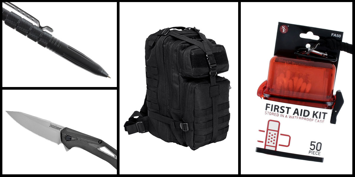Supply Drop VISM Small Backpack - Black + Kershaw Airlock Folding Knife + Tactical Pen + 50 Piece First Aid Kit in a Waterproof Storage Container