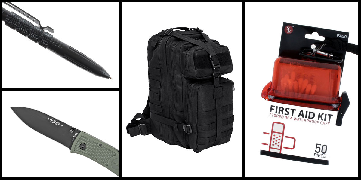 Supply Drop VISM Small Backpack - Black + KABAR Hunter Folding Knife + Tactical Pen + 50 Piece First Aid Kit in a Waterproof Storage Container