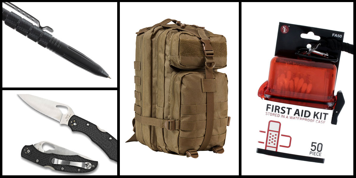 Supply Drop VISM Small Backpack - Tan + Spyderco Folding Knife + Tactical Pen + 50 Piece First Aid Kit in a Waterproof Storage Container