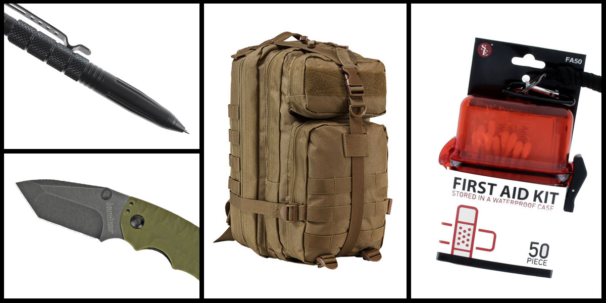 Supply Drop VISM Small Backpack - Tan + Kershaw Shuffle II Folding Knife + Tactical Pen + 50 Piece First Aid Kit in a Waterproof Storage Container