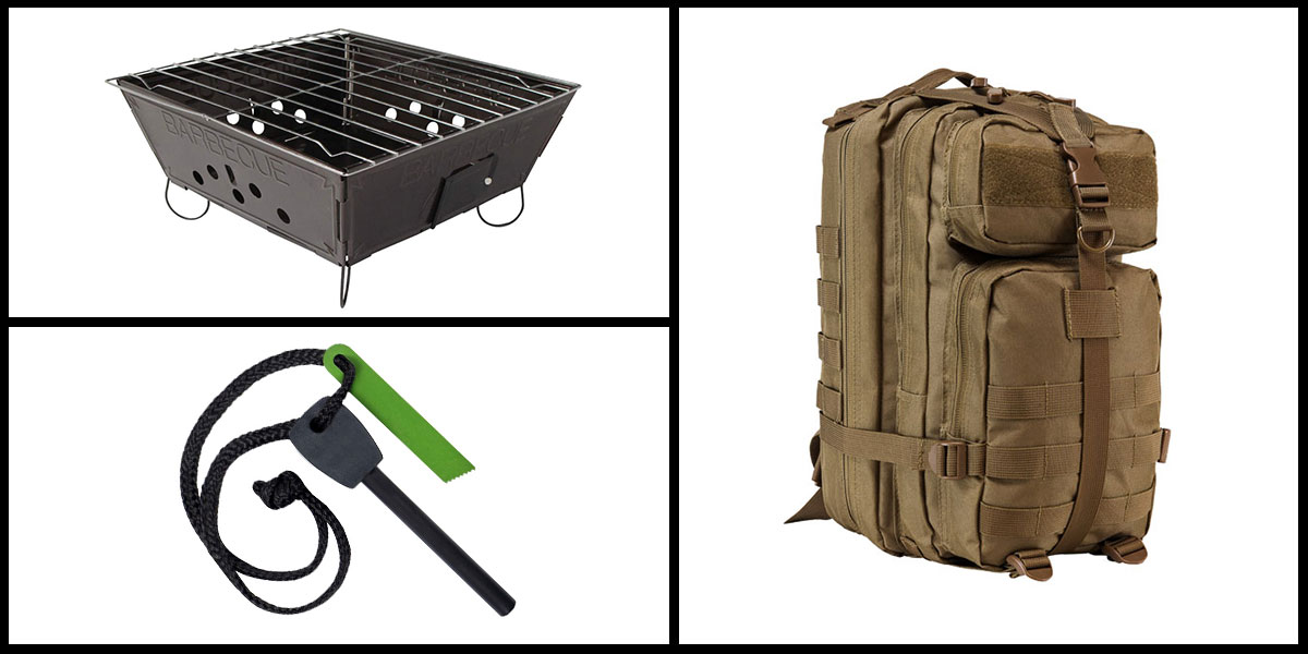 Supply Drop VISM Small Backpack - Tan + Portable Folding Barbecue Grill + Jumbo Emergency Flint Fire Starter & Striker *Camping Edition*