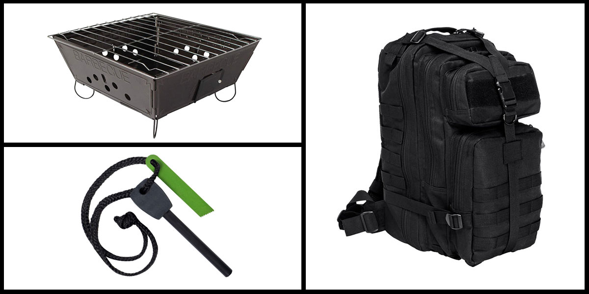 Supply Drop VISM Small Backpack - Black + Portable Folding Barbecue Grill + Jumbo Emergency Flint Fire Starter & Striker *Camping Edition*