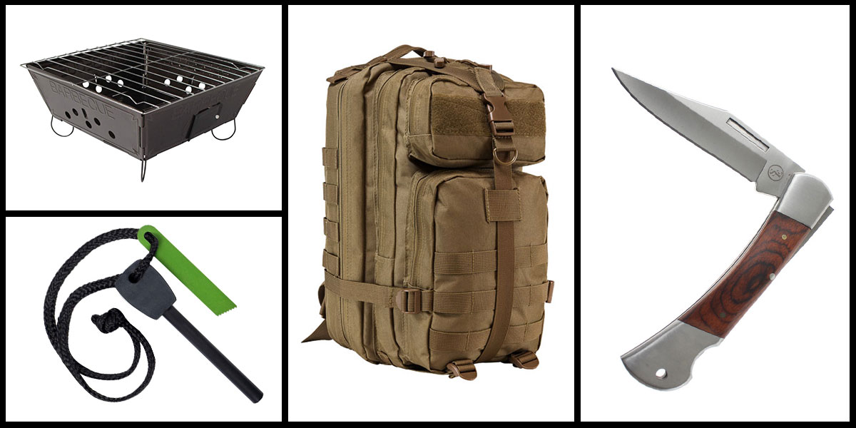 Supply Drop VISM Small Backpack - Tan + Portable Folding Barbecue Grill + Jumbo Emergency Flint Fire Starter & Striker + 3