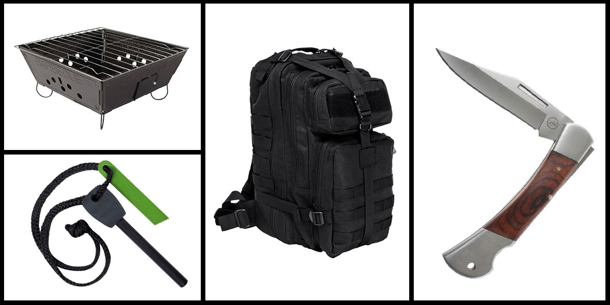 Supply Drop VISM Small Backpack - Black + Portable Folding Barbecue Grill + Jumbo Emergency Flint Fire Starter & Striker + 3
