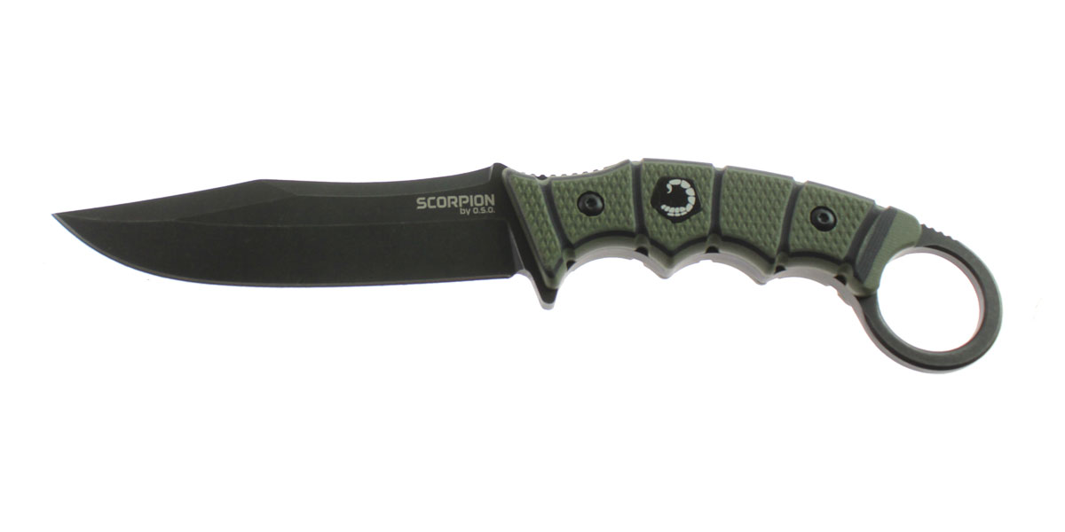 Knife, D2 Steel Blade w/ Black TiNi Stonewash Finish, Straight Edge, Olive/Black G10 Handle, Thermoformed Sheath w/ Customizable Quick Detach Belt Loop