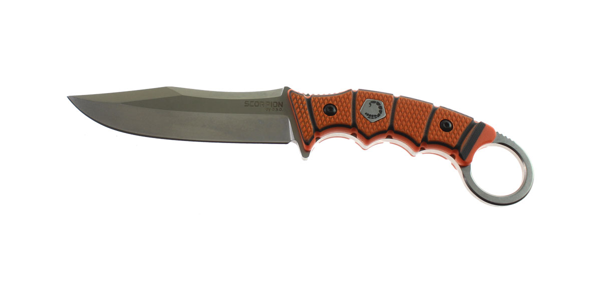 Knife, D2 Steel Blade w/ Stonewash Finish, Straight Edge, Orange/Black G10 Handle, Thermoformed Sheath w/ Customizable Quick Detach Belt Loop