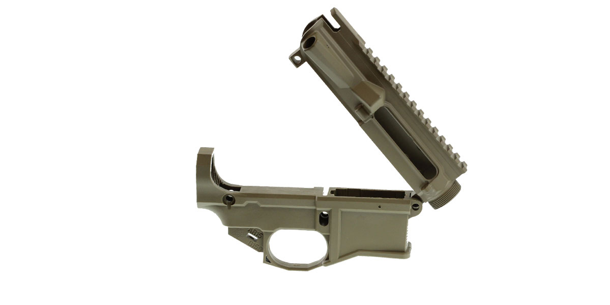 Aero Precision M4E1 Threaded Stripped Upper Receiver PLUS Polymer 80 Lower  Receiver with Jig & Mill Bits Combo **Both Match FDE IN Color**