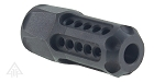 Helius Tactical Omega Tactical Distribution Laser Engraved 1/2X28 Hexagonal Muzzle Brake with Circle Ports