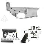 Noreen 80% Forged Lower Receiver, Alpha Stock Kit & Tactical Superiority Lower Parts Kit Combo **Everything You Need To Build Full 80% Lower**  (Choose Your Own Buffer Weight)