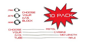 10 PACK - Pick Your Size Combo - Gas Block + Gas Tube
