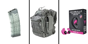 Omega Deals Range Ready Kit Ft. VISM Utility Bag - Urban Gray + Decibullz Custom Molded Earplugs - Pink + LANCER AR-15 .223REM/5.56 NATO 30RD Magazine
