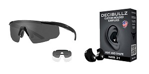 Omega Deals Shooter Safety Packs Featuring Decibullz Custom Molded Earplugs - Black + Wiley X Saber Safety Glasses - Black