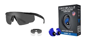 Omega Deals Shooter Safety Packs Featuring Decibullz Custom Molded Earplugs - Blue + Wiley X Saber Safety Glasses - Black