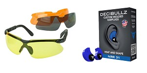 Omega Deals Shooter Safety Packs Featuring Decibullz Custom Molded Earplugs - Blue + Walker's, Glasses, Smoke Gray, Amber, Yellow, and Clear Lens Kit Included, 1 Pair