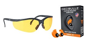 Omega Deals Shooter Safety Packs Featuring Decibullz Custom Molded Earplugs - Orange + Walker's, Glasses, Yellow, 1 Pair