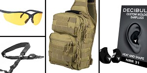 Tactical Gift Box VISM Shoulder Sling Utility Bag - Tan + Decibullz Custom Molded Earplugs - Black + Walker's Glasses, Yellow + AR-15 Three Point Tactical Combat Sling With HK Clips - Black