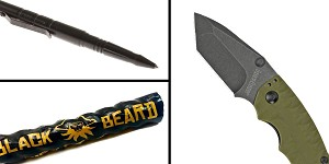 Tactical Gift Box Kershaw, Shuffle II, Folding Knife, 8CR13MOV/Black, Drop Point Blade + Tactical Pen + Black Beard Fire Starters