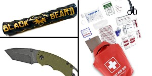 Tactical Gift Box Kershaw, Shuffle II, Folding Knife, 8CR13MOV/Black, Drop Point Blade + 100 Piece First Aid Kit stored in Dry Sack + Black Beard Fire Starters