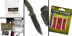 Tactical Gift Box Scorpion Knife, D2 Steel Blade, Black TiNi Finish, Straight Edge, Olive/Black G10 Handle + North American Rescue, Individual Patrol Officer Medical Kit + White Sports Bottle w/ Carabiner + SE Pocket Sharpener-Ceramic Sharpener