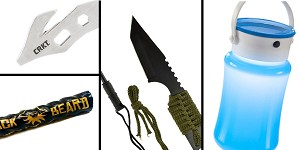 Tactical Gift Box Water Resistant Collapsible Storage Silicon Lantern Bottle + Mini Hunting Knife with Fire Starter + Black Beard Fire Starters + CRKT, K.E.R.T. Key Ring Emergency Tool