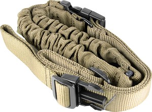 Mega Sling One-Point Bungee Rifle Sling/Steel Clip/Tan FDE (High Quality)